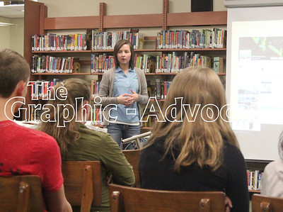 Kayla Degner of NEW Co-op talks about how she uses social media in her job doing marketing and communications. Degner spoke March 29 with South Central Calhoun Middle School students during an ag career day. GRAPHIC-ADVOCATE PHOTO/ERIN SOMMERS