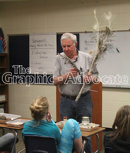 Veterinarian Dr. Paul Armbrecht talks about different kinds of birds and bird feathers during a presentation to South Central Calhoun Middle School students March 29. He was one of several ag career day speakers. GRAPHIC-ADVOCATE PHOTO/ERIN SOMMERS
