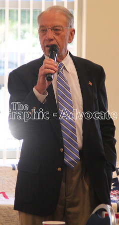 U.S. Sen. Charles Grassley speaks with Republicans Thursday night in Rockwell City. GRAPHIC-ADVOCATE PHOTO/ERIN SOMMERS