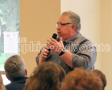 Sam Clovis, national co-chair for Donald Trump's presidential campaign, speaks with Calhoun County residents Thursday in Rockwell City. GRAPHIC-ADVOCATE PHOTO/ERIN SOMMERS