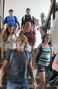 South Central Calhoun High School students come down a staircase on their way to the auditorium Thursday morning for the opening assembly. GRAPHIC-ADVOCATE PHOTO/ERIN SOMMERS