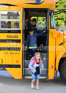 Students step off a school bus Thursday morning at South Central Calhoun Elementary School in Rockwell City. Thursday was the first day of the 2016-17 school year. GRAPHIC-ADVOCATE PHOTO/ERIN SOMMERS