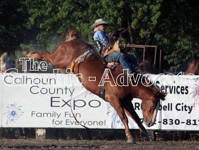 A bronco rider holds on while taking his ride at Friday night's expo rodeo. GRAPHIC-ADVOCATE PHOTO/ERIN SOMMERS