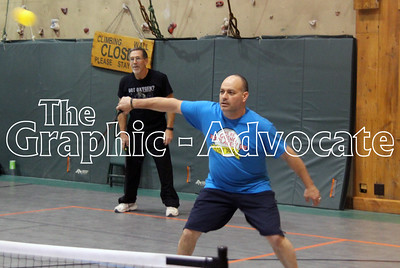 Merle Bloom, right, returns a hit while playing pickleball at Twin Lakes Bible Camp last week. GRAPHIC-ADVOCATE PHOTO/ERIN SOMMERS