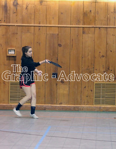 Carmel Larson returns a hit while playing pickleball. GRAPHIC-ADVOCATE PHOTO/ERIN SOMMERS