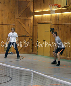Isaac Spain, left, and Justin Humphrey, right, wait to receive a serve while playing pickleball last week. GRAPHIC-ADVOCATE PHOTO/ERIN SOMMERS