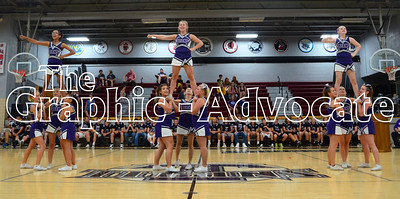 SCC cheerleaders perform during Wednesday's skit night and pep rally. GRAPHIC-ADVOCATE PHOTO/ERIN SOMMERS