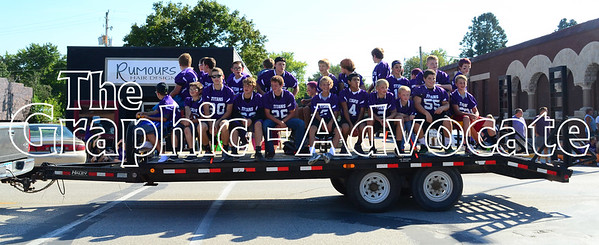 Members of the SCC Titans football team ride through Lake City for the Homecoming parade Friday afternoon. GRAPHIC-ADVOCATE PHOTO/ERIN SOMMERS