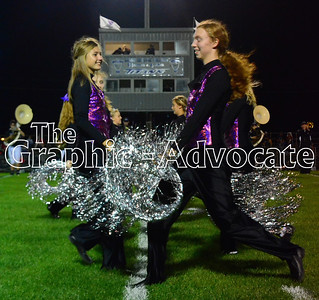 Megan Hardy, left, and Kjersti Olson, right, perform during the 2016 Homecoming halftime show. GRAPHIC-ADVOCATE PHOTO/ERIN SOMMERS