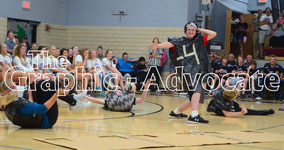 Ninth graders perform their skit Wednesday in the SCC gym. GRAPHIC-ADVOCATE PHOTO/ERIN SOMMERS