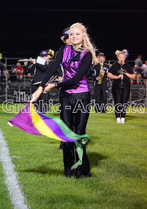 Meghan Dietrich spins a flag during the halftime performance at the 2016 SCC Homecoming football game. GRAPHIC-ADVOCATE PHOTO/ERIN SOMMERS