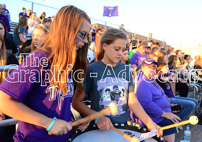 Band members play percussion at the start of Friday night's homecoming game against Clarinda. GRAPHIC-ADVOCATE PHOTO/ERIN SOMMERS