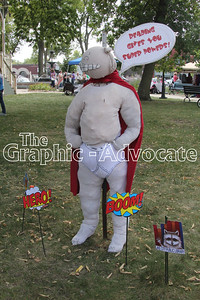 The Lake City Public Library created a Captain Underpants scarecrow for the 2017 Fall Fest. GRAPHIC-ADVOCATE PHOTO/ERIN SOMMERS