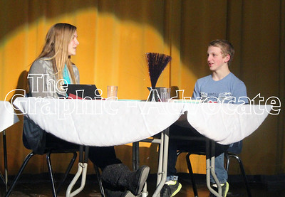 """Brielle Korleski and Ben Englin play a scene from """"It's not you, it's me,"""" during a rehearsal last week. GRAPHIC-ADVOCATE PHOTO/ERIN SOMMERS"""