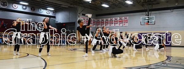 Members of the South Central Calhoun High School dance team perform during the Homecoming pep rally Sept. 21. GRAPHIC-ADVOCATE PHOTO/ERIN SOMMERS