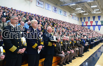 Law enforcement officers from Iowa and across the country attended Urbandale Police Officer Justin Martin's funeral service Tuesday at South Central Calhoun Middle School. GRAPHIC-ADVOCATE PHOTO/ERIN SOMMERS