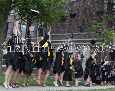 South Central Calhoun 2017 graduates throw their caps in celebration following the ceremony Sunday afternoon at the high school in Lake City. GRAPHIC-ADVOCATE PHOTO/ERIN SOMMERS