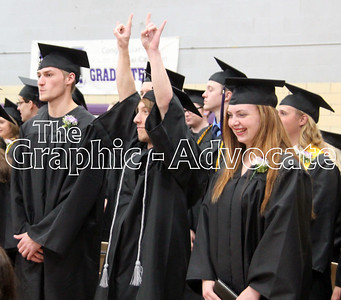 Austin WIskus raises his hands in celebration following the South Central Calhoun High School Class of 2017 Commencement. GRAPHIC-ADVOCATE PHOTO/ERIN SOMMERS