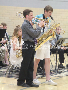 Jazz band members perform solos during the Fine Arts Show May 10. GRAPHIC-ADVOCATE PHOTO/ERIN SOMMERS