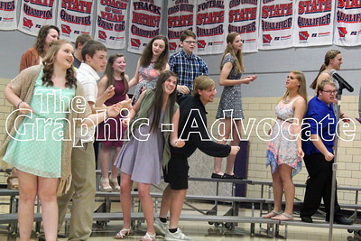 "Show choir members performed ""L.O.V.E."" at the 2016 Fine Arts Show May 10 at South Central Calhoun High School. GRAPHIC-ADVOCATE PHOTO/ERIN SOMMERS"