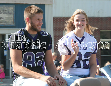 Joe Schrage and Hannah Seil ride through the 2017 Homecoming Parade in Lake City Friday afternoon. GRAPHIC-ADVOCATE PHOTO/JERI VANDERHEIDEN