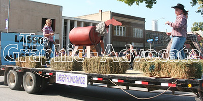 "A South Central Calhoun School float encouraged the football team to ""Lasso the Mustangs"" during the Homecoming Parade Friday in Lake City. GRAPHIC-ADVOCATE PHOTO/JERI VANDERHEIDEN"