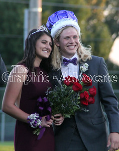 SCC 2018 Homecoming Queen Kara Collison stands with Homecoming King Mason Merkley at coronation Wednesday night. GRAPHIC-ADVOCATE PHOTO/ERIN SOMMERS
