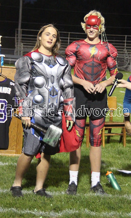 Juniors Seth Reiss and Zane Neubaum wear costumes for the junior class play Wednesday night. GRAPHIC-ADVOCATE PHOTO/ERIN SOMMERS