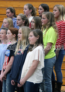 A middle school choir sings during the 2018 Veterans Day program. GRAPHIC-ADVOCATE PHOTO/ERIN SOMMERS