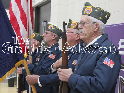 Veterans from Rockwell City form a color guard during the 2018 Veterans Day program. GRAPHIC-ADVOCATE PHOTO/ERIN SOMMERS