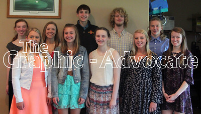 Pictured are the Top 10 South Central Calhoun High School juniors. In front, from left, are Sydnie Schultz, Megan Hardy, Jennifer Mossman, Brooklin McKinney and Abby Clark. In back, from left, are Kjersti Olson, Allison Birks, Lucas Otto, Ben Wozniak and Kody Case. GRAPHIC-ADVOCATE PHOTO/ERIN SOMMERS