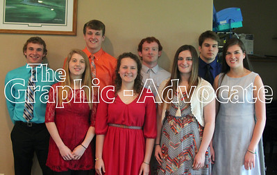 Eight of the Top 10 South Central Calhoun High School seniors are seen. In front, from left, are Hannah Lee, Sarah Van Hulzen, Courtney Andersen and Mallory Willett. In back, from left, are Derrick Henkenius, Ty Riley, Nolan Ford and Carter Ludwig. Not pictured are Jordan Hepp and Taylor Hepp. GRAPHIC-ADVOCATE PHOTO/ERIN SOMMERS