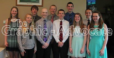 Pictured are the Top 10 South Central Calhoun High School freshman. In front, from left, are Amaliya McCaulley, Jacy McAlexander, Mason Henry, Maddie Jones and Cassidy Voorde. In back, from left, are Anna McChesney, Chase McAlister, Josh Van Hulzen, Jacob Nicholson and Sam Musselman. GRAPHIC-ADVOCATE PHOTO/ERIN SOMMERS