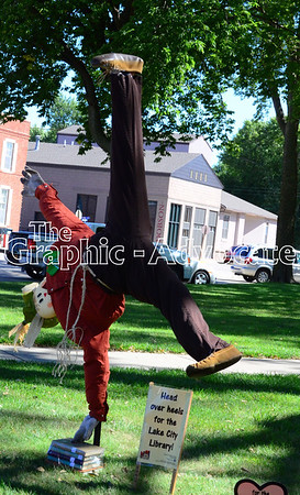 The Lake City Public Library decorated a cartwheeling scarecrow for the fall festival Sunday. GRAPHIC-ADVOCATE PHOTO/ERIN SOMMERS
