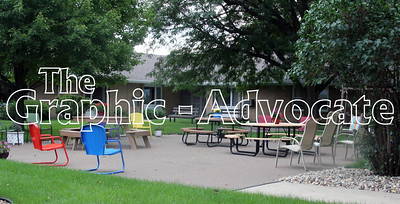 The remodeled patio is seen within the Sunnyview courtyard last week. GRAPHIC-ADVOCATE PHOTO/ERIN SOMMERS