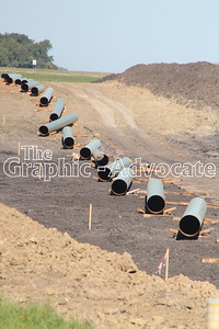 Pipes are seen just west of Highway 4, north of Rockwell City, Sept. 1. Crews have begun boring under Calhoun County roads to lay the oil pipeline. GRAPHIC-ADVOCATE PHOTO/ERIN SOMMERS