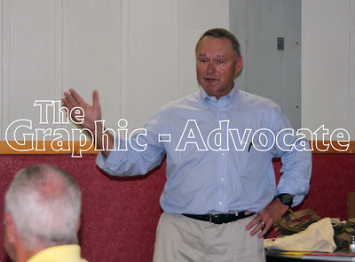 Iowa State Treasurer Michael Fitzgerald speaks with Calhoun County Democrats Aug. 30 in Jolley. GRAPHIC-ADVOCATE PHOTO/ERIN SOMMERS