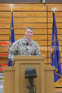 Private First Class Trenton Dorman speaks at the South Central Calhoun Middle School Veterans Day program Friday. GRAPHIC-ADVOCATE PHOTO/ERIN SOMMERS
