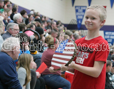 Fifth-grade students paraded their American-flag themed items through the SCC Middle School gym Friday afternoon. GRAPHIC-ADVOCATE PHOTO/ERIN SOMMERS