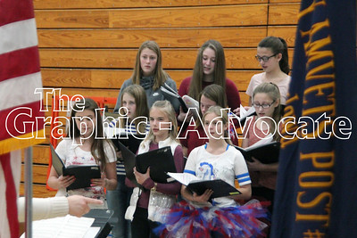 The SCC 7th and 8th grade choir performs during the middle school's Veterans Day program. GRAPHIC-ADVOCATE PHOTO/ERIN SOMMERS