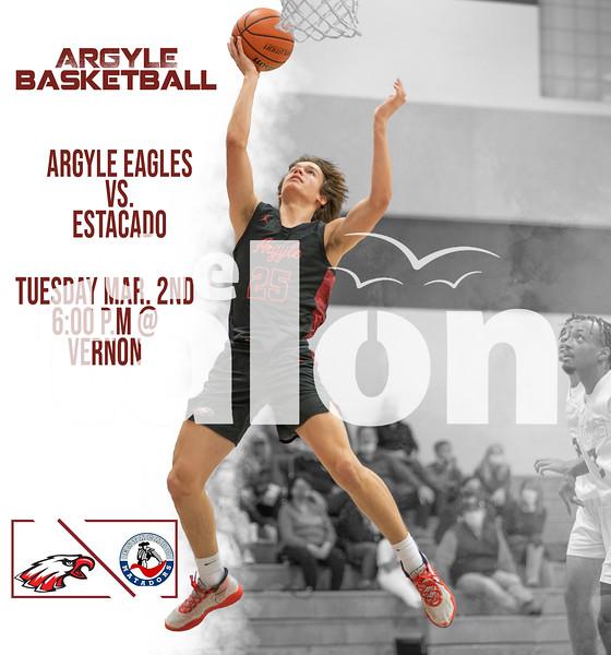 Argyle Basketball Argyle Eagles vs. Estacado Tuesday Mar. 2nd 6:00 p.m. @ Vernon (Tyler Castellanos|The Talon News)