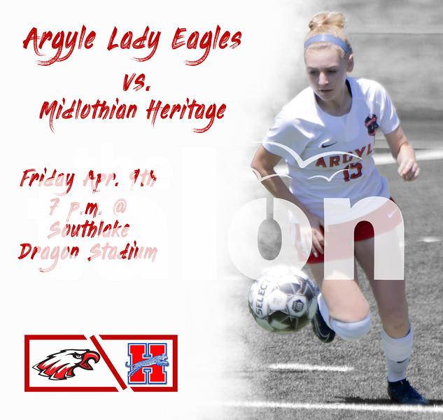 Argyle Lady Eagles vs. Midlothian Heritage Friday Apr. 9th 7 p.m. @ Southlake Dragon Stadium (Tyler Castellanos The Talon News)