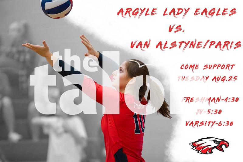 Argyle Lady Eagles vs. Van Alstyne/Paris<br /> Come Support! Tuesday, Aug. 25 Freshman-4:30 JV-5:30 Varsity-6:30 (Tyler Castellanos|The Talon News)