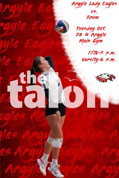 Argyle Lady Eagles vs. Krum<br /> Tuesday Oct. 20 @ Argyle Main Gym F/JV-5 p.m. Varsity-6 p.m. (Tyler Castellanos The Talon News)