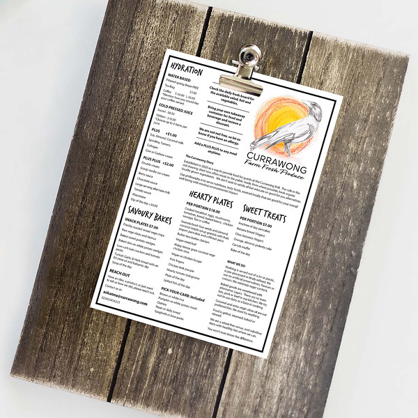 The menu is designed to be printed easily as required on recycled A4 paper. This allows for regular menu updates and for customers to take it away, use to make notes etc.