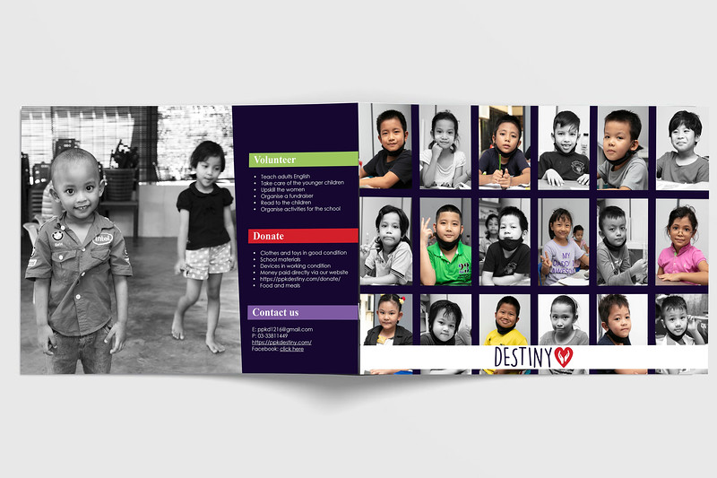 Destiny about us e-brochure; back and front pages.  Professional photography was taken specifically for this and future marketing projects.