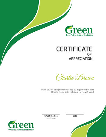 Green party - Certificate (Without Name)