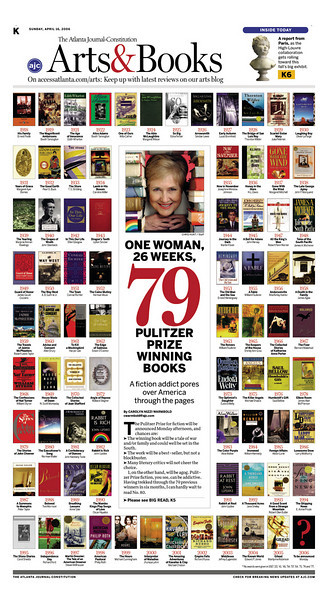 "As the headline says ""One woman, 26 weeks, 79 Pulitzer Prize winning books."" All 79 are represented on the page, complete with title, author and year."
