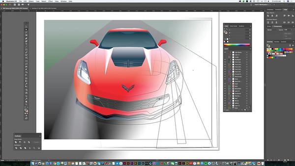 Vector Illustration, Z06 Corvette Cutaway