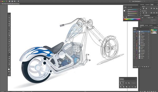 Vector Illustration, Motorcycle Cutaway